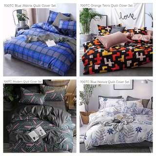 HIGH QUALITY FITTED BEDSHEET QUILT COVER SET