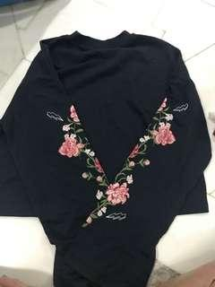 Long sleeve floral Navy top