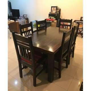 Solid Heavy Dark Wood Dining Table and Six Chairs
