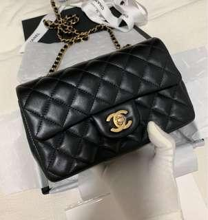 100% Authentic and New Chanel Rectangular Mini bag, Quilted Black Lambskin, Full Set with Original Receipt, 2019C