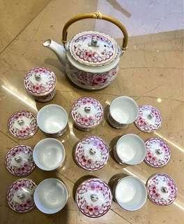 🚚 新娘捧茶、閨蜜下午茶 大同 瓷器 粉色花卉 茶壺、茶杯1壺 10杯