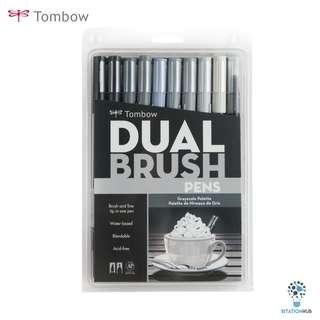 Tombow Dual Brush Pens | Grayscale Palette | Pack of 10 Pens [CK-56171]