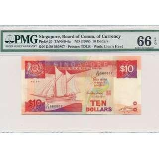 1988 Board Of Commissioners of Currency Singapore $10 PMG 66EPQ