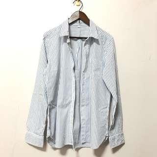 🚚 MUJI無印良品 海軍條紋 棉感 休閒 長袖襯衫 • L