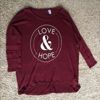 H&M LOVE & HOPE MAROON TOP