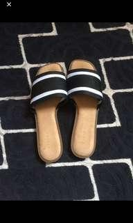 Cute black and white sandals