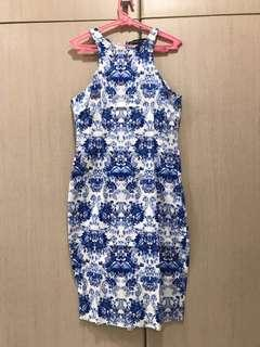 Apartment Eight Printed Blue and White Dress