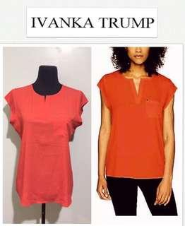 Ivanka Trump Cap Sleeve Pocket Lightweight Red Top
