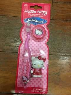 Hello kitty tooth brush with cap and toothbrush buddy
