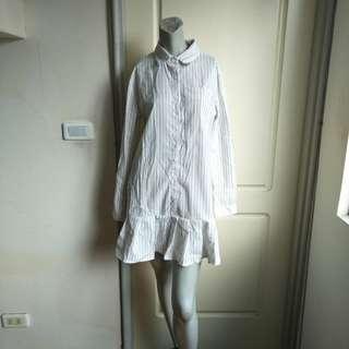 🚚 【onsale】韓牌Thank You灰藍條紋荷葉邊下襬襯衫式長袖洋裝連身裙