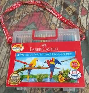 Faber Castell 48 Watercolour Pencils+Brush, 2B Pencil, Sharpener