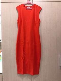 Zara Casual Above Ankle Orange Dress