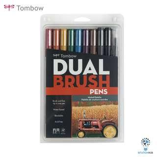Tombow Dual Brush Pens | Muted Palette | Pack of 10 Pens [CK-56186]