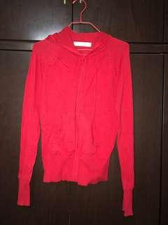 🚚 Red hooded cardigan