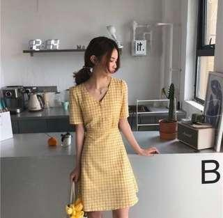 Vintage Yellow Checkered Dress