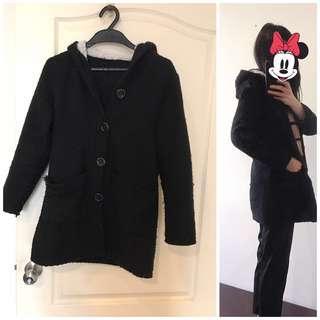 🚚 毛毛連帽黑色編織外套-長版顯瘦#半價衣服市集