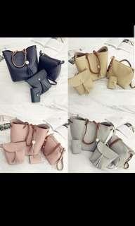 🚚 4 PCs handbag wallet bag leather set