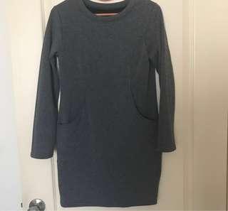 🚚 賠錢賣~9成新長版內裡絨毛顯瘦雙口袋上衣#半價衣服市集