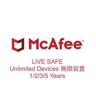 McAfee 1year/2years/3years/5years 無限制機數 任何設備均可支配 Applicable for any device