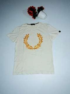 Fred Perry Laurel Wreath White Gold Logo Tshirt Original