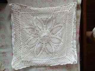 Small white embroidered pillow case