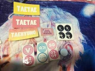 🚚 [wts] bts suga/yoongi and taehyung/v fansite stickers