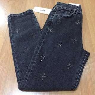 New:H&M high waisted denim dark gray jeans
