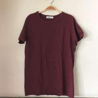 🚚 棗紅色棉質短T#半價衣服市集