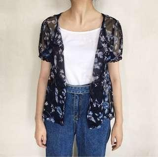 Navy Sheer Floral Outer