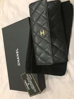 Chanel Classic Black Caviar Long Wallet