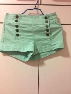 Forever 21 湖水綠高腰熱褲 High Waist Hot Pants