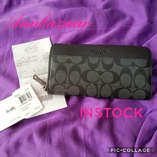 INSTOCK SPECIAL OFFER! Coach Accordion Zip Over Signature Long Wallet (100% Authentic)