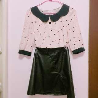 🚚 🦕(套裝)粉色娃娃領+皮裙全新