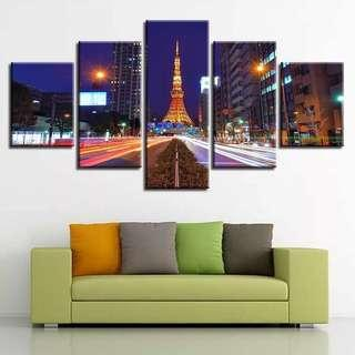 🚚 Paris Highway Golden Eiffel Tower Canvas Print