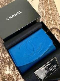 少有藍色 Vintage Chanel 銀包 美品