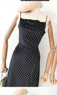 Polka velvet spaghetti strap dress