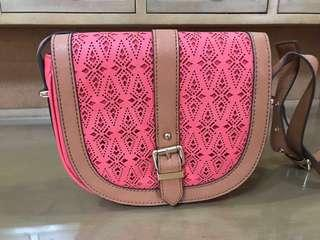 Aldo Pink Bag with Brown Strap