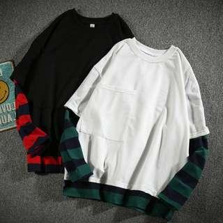 Oversized Pocket Striped Sleeves