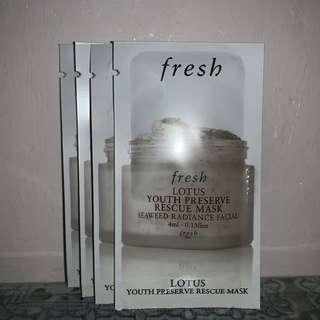 fresh 一套4件 睡蓮青春活膚速效面膜 LOTUS YOUTH PRESERVE RESCUE MASK