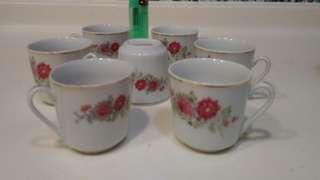 全新70年代細茶杯7隻
