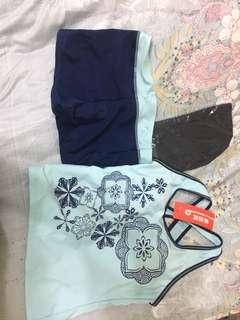 🚚 [全新、未穿過]花花背心兩件式泳衣