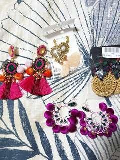 trendy tassel/rattan/beaded earrings