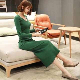 🆕BRAND NEW Long Sleeve Knitted Bodycon Green Dress