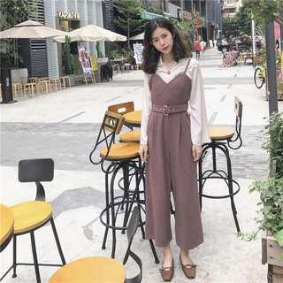 🆕BRAND NEW Elegant Cami Overall Jumpsuit with Belt