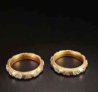 清代 老純銀鎏金「福壽紋」手鐲一對