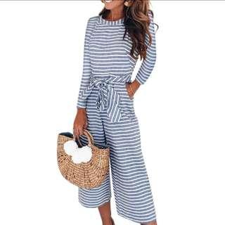 🆕BRAND NEW Striped Long Sleeve Culottes Jumpsuit