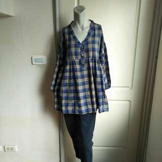 🚚 【購物免費送】Ls.Girl藍黃格紋落肩款大尺碼長袖上衣