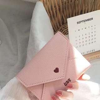 Korea pink heart wallet