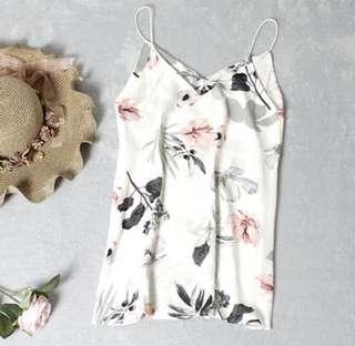 ✨ white carislabelle floral chiffon print spag dress // instock