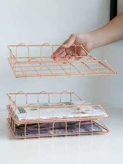 Stackable A4 rose gold paper tray